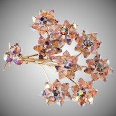 Purple Bead Flower Brooch with Iridescent Rhinestones Vintage