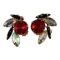 Rhinestone Earrings Red Black Iridescent Vintage Beaujewels and Judy Lee Style