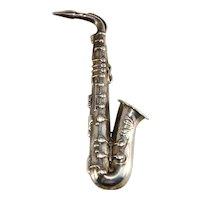 Beau Sterling Saxophone Brooch Pin Musical Instrument Vintage