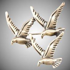 Beau Sterling Birds in Flight Brooch Pin Brushed Silver Finish