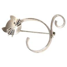 Beau Sterling Brooch Pin Cat Kitten Brushed Silver Modernist Vintage