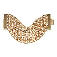 Ben Amun Bracelet WIDE Chains Gold Plated Vintage 1990s Ben-Amun