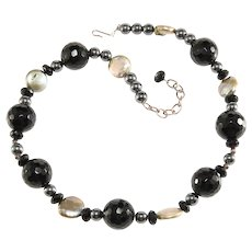 Necklace Black Glass Beads Freshwater Coin Pearls Gray