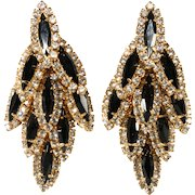 Black and Clear Rhinestone Waterfall Dangle Earrings