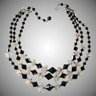 Black and Iridescent Beads Necklace Vintage 1960s