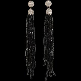 Tassel Earrings Clear Rhinestones Black Seed Beads Pierced Dangles