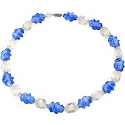 Blue and Clear Vintage Fancy Swirl Bead Necklace
