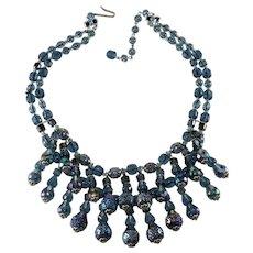 Dusty Blue Dangle Bead Bib Necklace Vintage