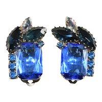 Earrings Vivid Blue Rhinestones Vintage Clip Backs