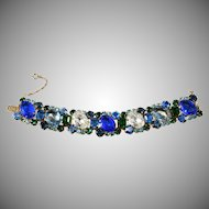 Vintage Bracelet Blue and Green Rhinestones 1960s