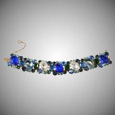 Vintage Bracelet Blue and Green Rhinestones 1960s