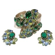 Blue Green Rhinestones WIDE Hinged Cuff Bracelet and Earrings Set