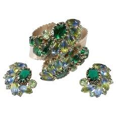 Blue Green Rhinestones WIDE Hinged Cuff Bracelet and Earrings Set
