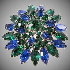 Blue Green Rhinestones Layered Flower Brooch Pin Vintage