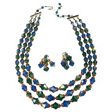 Blue and Green Crystal Necklace Dangle Earrings Set Vintage 1960s
