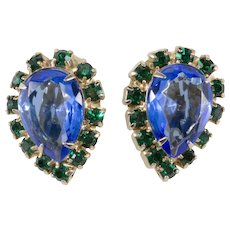 Blue Green Rhinestone Pear Shape Clip Earrings