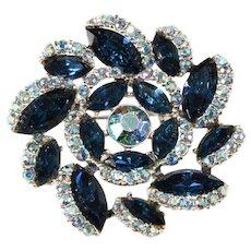 Blue Pinwheel Pin Brooch Vintage 1960s