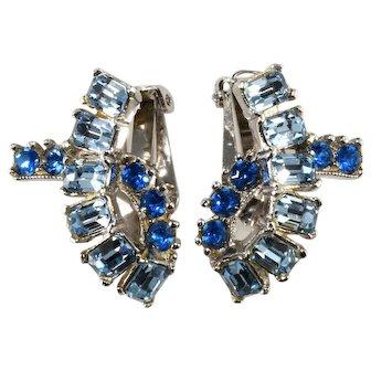 Blue Rhinestone Ribbon Earrings Vintage