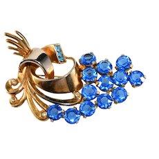 Spray Brooch Bright Blue Rhinestones Gold Plated Vintage Pin