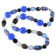 Necklace with Blue and Black Venetian Glass Beads Vintage
