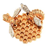 Boucher Brooch Bees Honeycomb Hive Gold Plated Clear Rhinestones Pin Vintage
