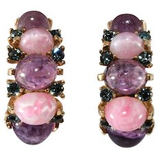 Boucher Pink Purple Cabochon Half Hoop Earrings with Rhinestones