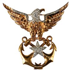 Boucher Eagle Sweetheart Brooch Pin WWII Navy Anchors Vintage
