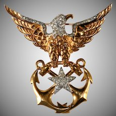Boucher Eagle Sweetheart Brooch Pin WWII Navy Anchors Patriotic
