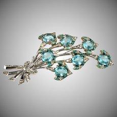 Boucher 4.25 Inch Enameled Blue Flowers Rhinestone Brooch Pin