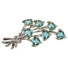 Boucher 4.25 Inch Enameled Blue Flowers Rhinestone Brooch Pin