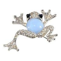 Boucher Brooch Frog Pin Blue Belly Clear Rhinestones Vintage