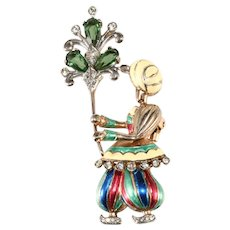 Boucher Sterling Silver Enameled Indian Boy Brooch Fur Clip