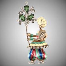 Boucher Sterling Silver Enameled Indian Boy Brooch Fur Clip
