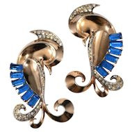 Boucher Sterling Silver Lovebirds Brooch Pins Pair with Blue Rhinestones