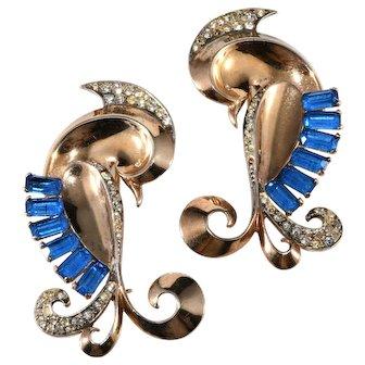 Boucher Sterling Silver Lovebirds Brooch Pins Pair with Blue Rhinestones