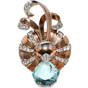 Boucher Plumed Bird Head Pin Clip Brooch Blue and Clear Rhinestones