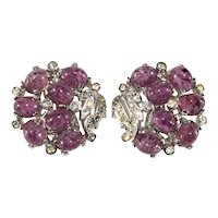 Boucher Earrings Purple Glass Cabochons Clear Rhinestones Old MB Mark Vintage