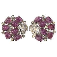 Boucher Earrings Purple Glass Cabochons Clear Rhinestones Old MB Mark Vintage