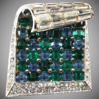 Boucher Sterling Ribbon Rhinestone Blue Green Fur Clip Pin Brooch