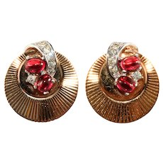 Boucher Earrings Ruby Red Glass Cabochons Ribbed Gold Plated Vintage