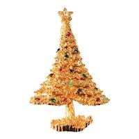 Boucher Christmas Tree Pin Brooch Rhinestones Vintage