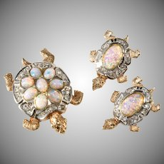 Boucher Turtles Brooch Pin Clip and Earrings Faux Opals and Rhinestones