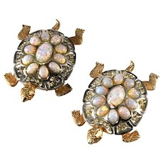 Boucher Turtles Pair Brooches Pins Clips Faux Opals and Rhinestones