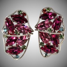 Brania Pink Rhinestone Butterfly Wing Earrings Vintage