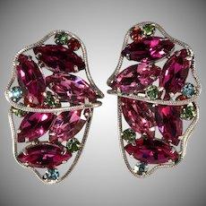 Brania Pink Rhinestone Butterfly Wing Earrings Vintage