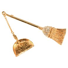 Brooch Broom Dustpan Rhinestones Gold Plated Marked H.I. After R. Mandle