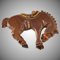 Wooden Bucking Bronco Horse Brooch Pin 1940s Vintage
