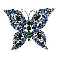 Butterfly Brooch Blue Green Rhinestones Vintage
