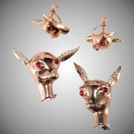 Bates and Bacon Deer Head Family Brooch Pin Earrings Set Sterling Silver