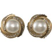 CHANEL Faux Pearl Rhinestone Swirl Earrings c. 1980